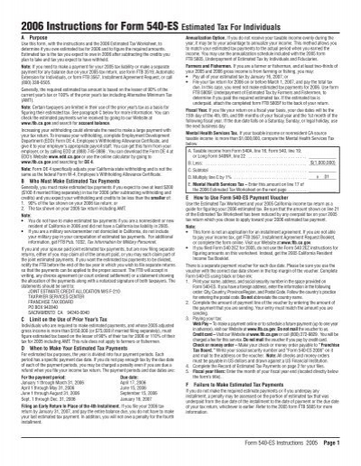 2006 Instructions For Form 540 Es California Franchise Tax Board