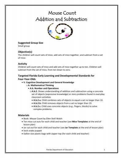 Mouse Count Addition And Subtraction Lesson Plan Florida