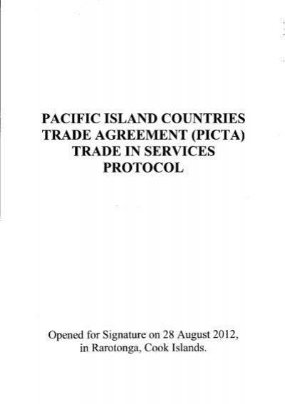 Pacific Island Countries Trade Agreement Picta Trade In Services