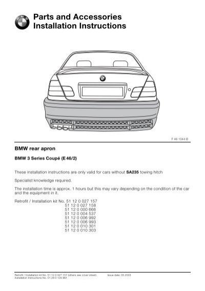 rear apron without sa235 e46 2 4430 bmw retrofit guides rh yumpu com BMW Retrofit Kit BMW Navigation Retrofit