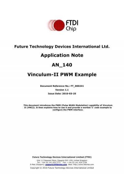 AN_140: Vinculum-II PWM Example - FTDI