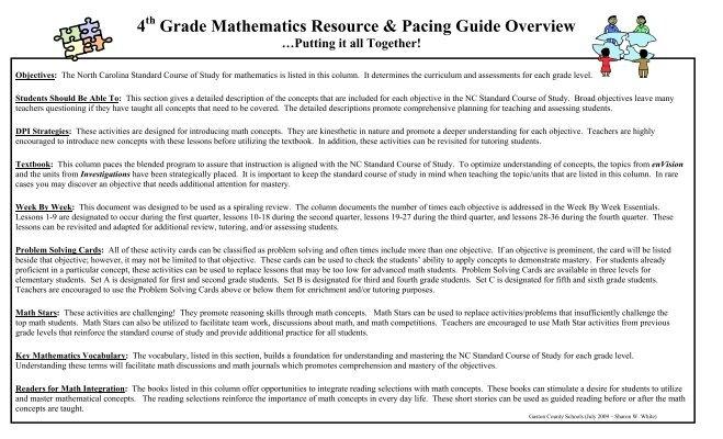 Pacing Guide - Math Grade 4 - Gaston County Schools