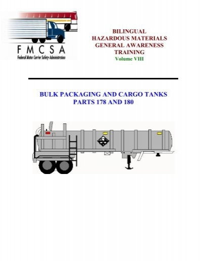 Bulk packaging and cargo tanks federal motor carrier for Federal motor carrier safety regulations pdf