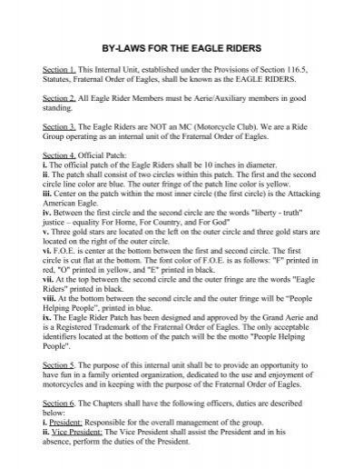 Eagle Riders Bylaws.pdf - Fraternal Order of Eagles