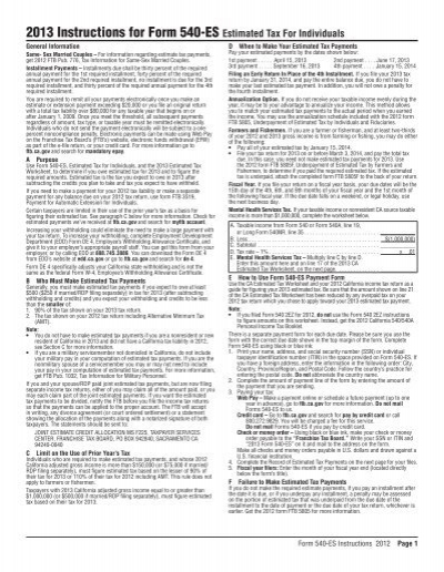 2013 Instructions For Form 540 Es California Franchise Tax Board
