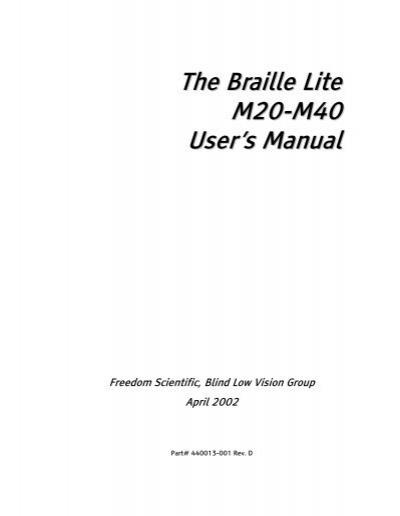 the braille lite m20 m40 user s manual freedom scientific rh yumpu com