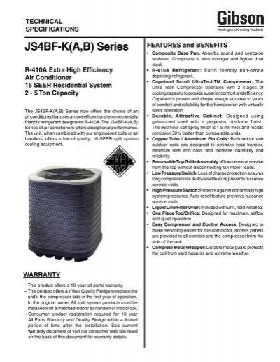 JS4BF-K(A,B) Series - Fox Appliance Parts of Macon, Inc
