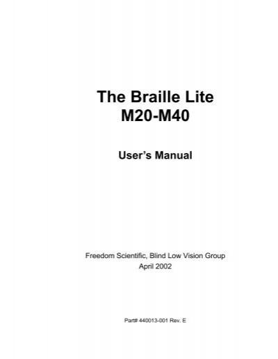 the braille lite millennium freedom scientific rh yumpu com