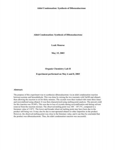 Aldol Condensation: Synthesis of Dibenzalacetone - Franklin