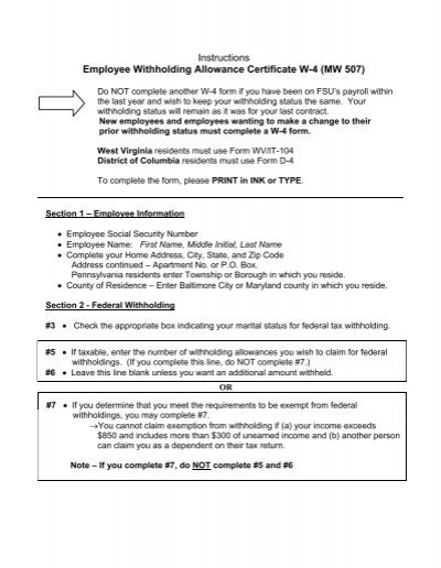 Instructions Employee Withholding Allowance Certificate W-4 (MW