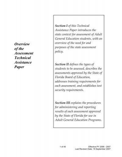 Overview of the Assessment Technical Assistance Paper - Florida .