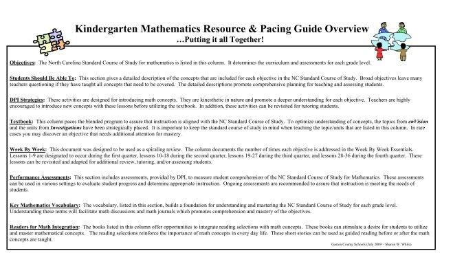 pacing guide math kindergarten gaston county schools rh yumpu com jefferson county pacing guides Kindergarten Pacing Guide