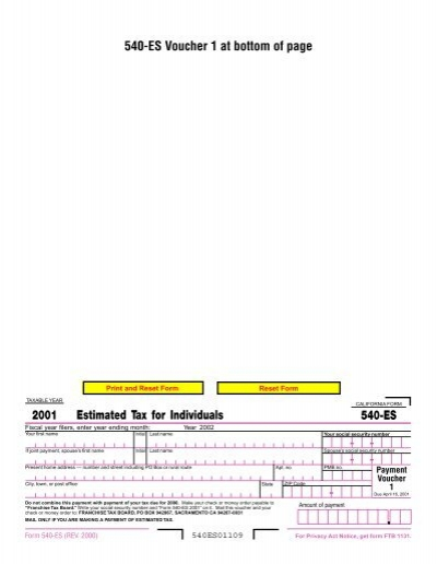 540-ES - California Franchise Tax Board