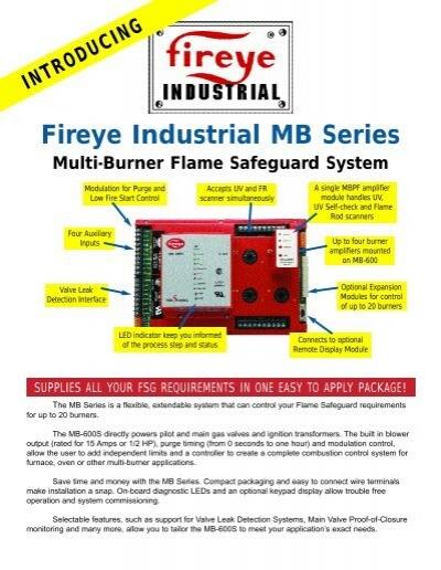 """e110 fireye flame monitorâ""""¢ westmill industries fireye industrial mb series multi burner flame fireye inc"""