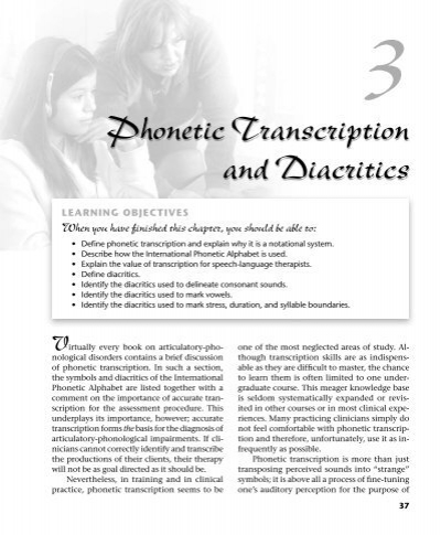 Phonetic Transcription And Diacritics