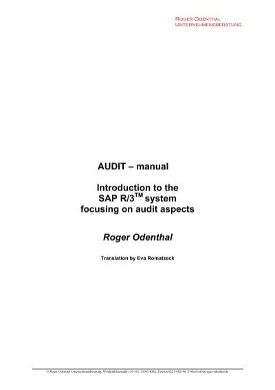 audit manual introduction to the sap r 3 roger odenthal rh yumpu com sap r 3 manual español common sap r/3 functions manual