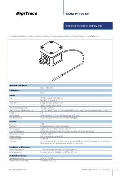 datasheet digitrace moni pt100 nh pentair thermal controls rh yumpu com