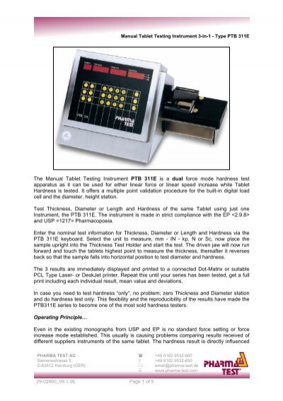 The manual tablet testing instrument ptb 311e is a globopharma fandeluxe Choice Image