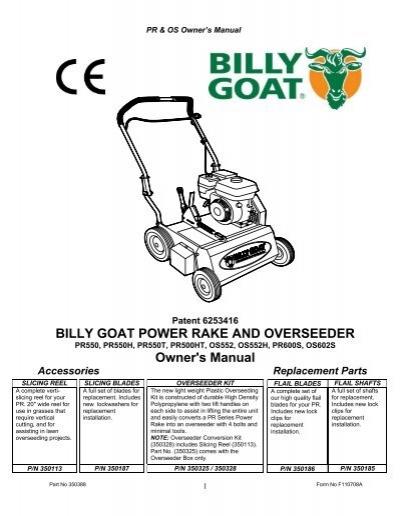 billy goat power rake and overseeder owner s manual rh yumpu com bluebird pr18 power rake manual bluebird power rake manual