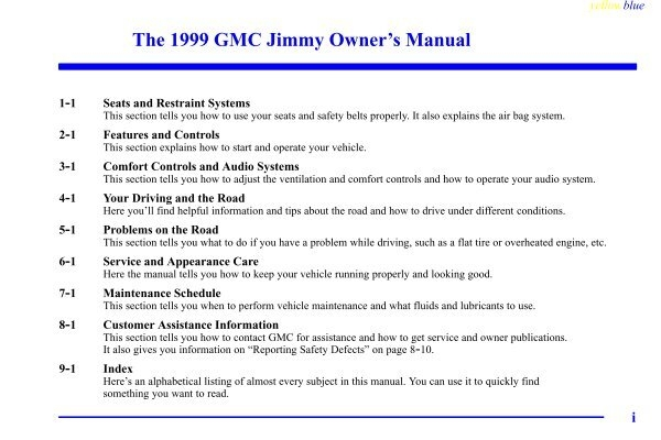 1999 gmc jimmy owners manual