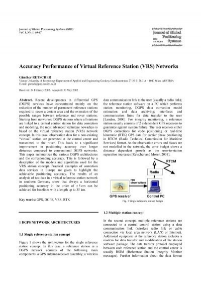 Accuracy Performance of Virtual Reference Station (VRS) Networks