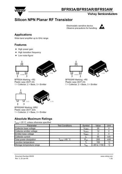 bfr93a  bfr93ar  bfr93aw silicon npn planar rf transistor