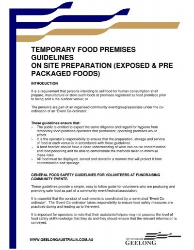 Temporary Food Premises Guidelines On Site Preparation