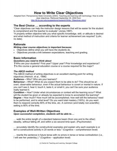 How to write clear instructional objectives cambridge university phd thesis binding