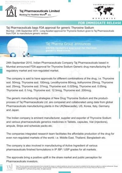 Taj Pharmaceuticals Bags Fda Approval For Generic Thyroxine Sodium