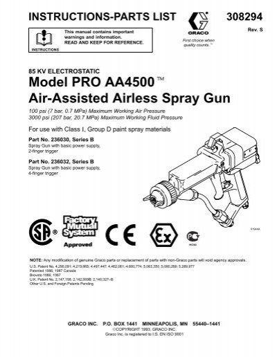 308294S Model PRO AA4500 Air-Assisted Airless Spray