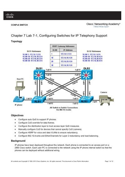 cisco console cable wiring diagram 3550 chapter 7 lab 7 1  configuring switches for ip telephony support  switches for ip telephony support