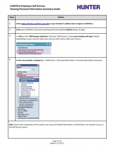 Viewing Personal Information Summary Guide - CUNY