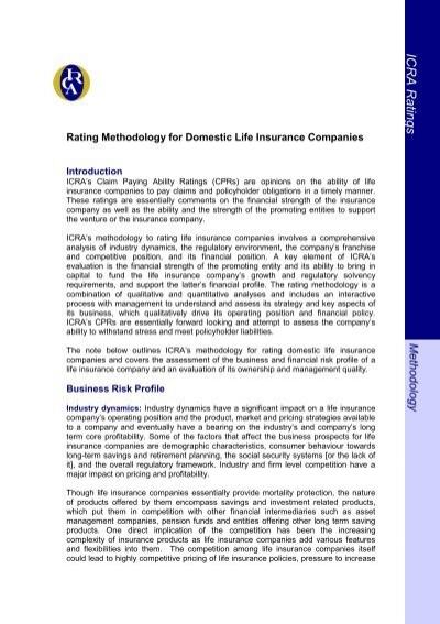 Top Ten Life Insurance Companies >> Rating Methodology For Domestic Life Insurance Companies Icra