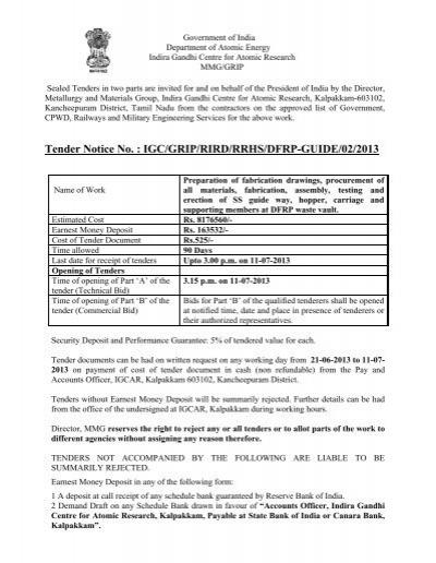Kalpakkam atomic power station tenders dating