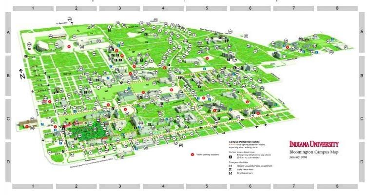 map of iu campus Indiana University Bloomington Campus Map map of iu campus