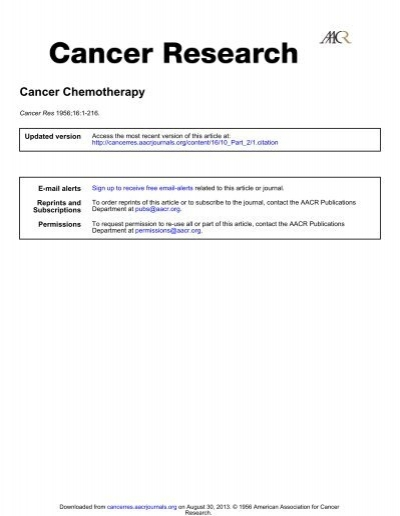 CANCER CHEMOTHERAPY ACENAPHTHENE ... - Cancer Research