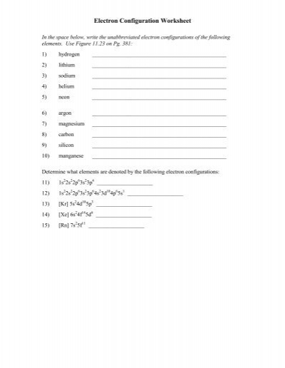Worksheet Electron Configuration Worksheet Answers electron configuration practice worksheet