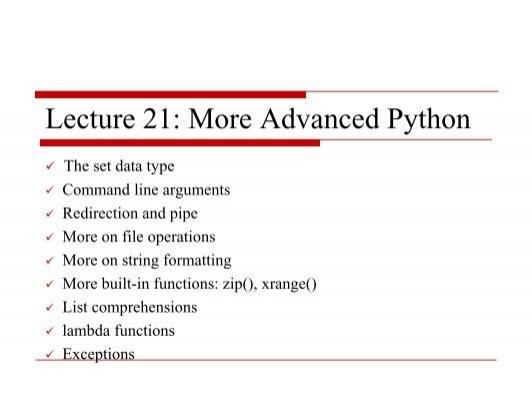 Advanced Python topics
