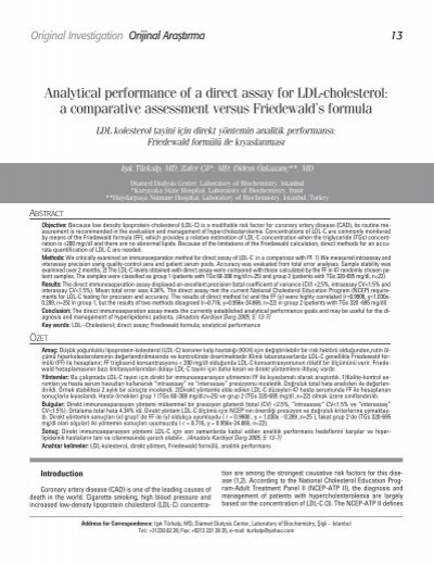Analytical Performance Of A Direct Assay For Ldl Cholesterol A