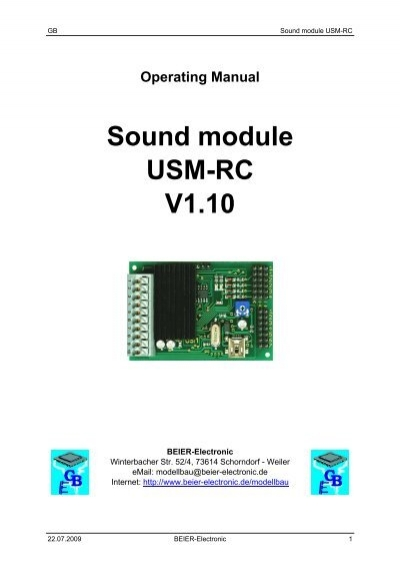 Operating Manual Sound Module Usm-rc V1 10