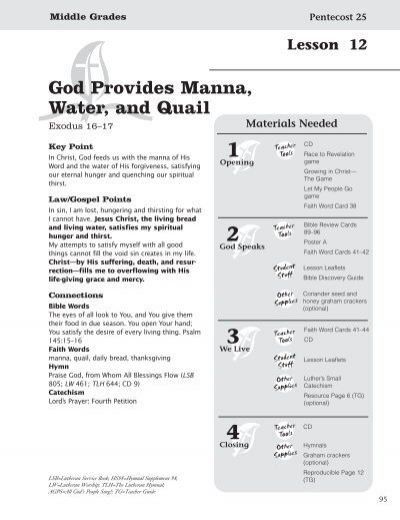 God Provides Manna, Water, and Quail - Concordia Publishing House