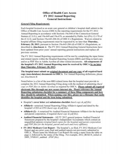 FY 2012 Annual Reporting General Instructions - CT gov