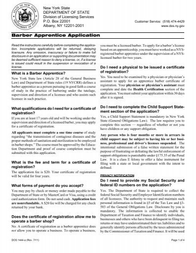 barber apprentice application - new york state department of state