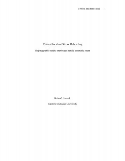 critical incidents en Collection of critical incidents wwwbodyprojecteu 3 foreword the aim of the research phase of the body project was to explore the impact of cultural differences in the.