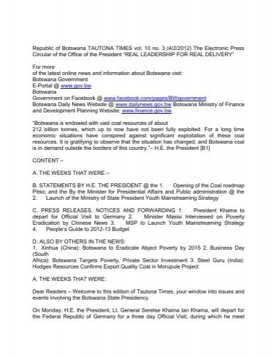 Download Full Version Government Of Botswana