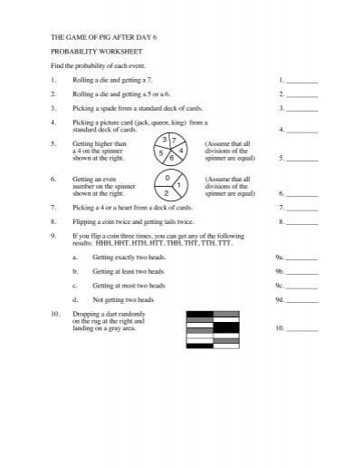 the game of pig after day 6 probability worksheet. Black Bedroom Furniture Sets. Home Design Ideas