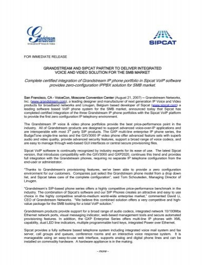 grandstream and sipcat partner to deliver zero configuration