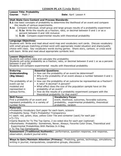 42NewMath7LessonHApril4Probability - Granite School District