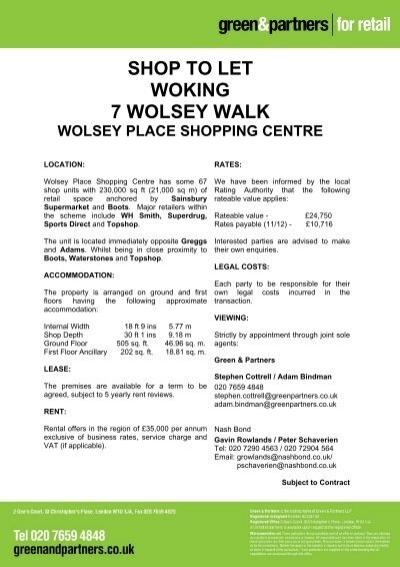 Shop To Let Woking 7 Wolsey Walk Green Partners