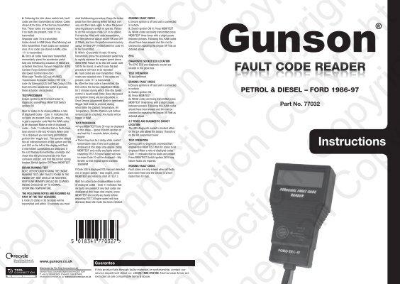 2 77032 Fault Code Reader